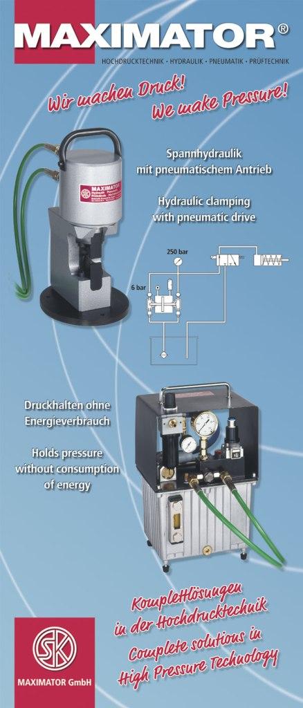 Spannhydraulik mit pneumatischem Antrieb